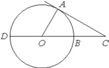 Угол 𝐴𝐶𝑂 равен 28°. Его сторона 𝐶𝐴 касается окружности с центром в точке 𝑂. Сторона 𝐶𝑂 пересекает окружность в точках 𝐵 и 𝐷 (см. рис.). Найдите градусную меру дуги 𝐴𝐷 окружности, заключённой внутри этого угла. Ответ дайте в градусах.