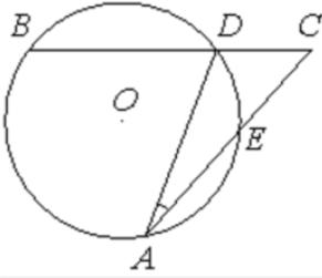 Угол 𝐴𝐶𝐵 равен 54°. Градусная мера дуги 𝐴𝐵 окружности, не содержащей точек 𝐷 и 𝐸 равна 138°. Найдите угол 𝐷𝐴𝐸. Ответ дайте в градусах.