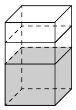 В бак, имеющий форму правильной четырёхугольной призмы со стороной основания 80 см, налита жидкость. Чтобы измерить объём детали сложной формы, её полностью погружают в эту жидкость.