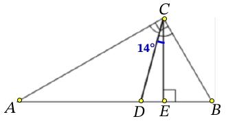 В прямоугольном треугольнике угол между высотой и биссектрисой, проведёнными из вершины прямого угла, равен 14°.