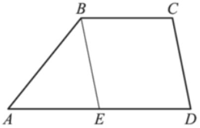 В трапеции 𝐴𝐵𝐶𝐷 меньшее основание 𝐵𝐶 равно 4, прямая 𝐵𝐸 параллельна боковой стороне 𝐶𝐷. Найдите периметр трапеции 𝐴𝐵𝐶𝐷, если периметр треугольника 𝐴𝐵𝐸 равен 15.