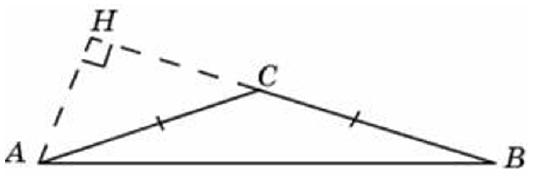 В треугольнике 𝐴𝐵𝐶 𝐴𝐶=𝐵𝐶=2√2, угол 𝐶 равен 135°. Найдите высоту 𝐴𝐻.