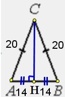 В треугольнике 𝐴𝐵𝐶 𝐴𝐶 = 𝐵𝐶 = 20, 𝐴𝐵 = 28. Найдите cos𝐴.