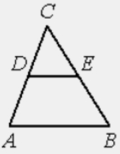 В треугольнике 𝐴𝐵𝐶 𝐷𝐸− средняя линия. Площадь треугольника 𝐶𝐷𝐸 равна 24. Найдите площадь треугольника 𝐴𝐵𝐶.