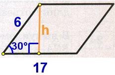 Две стороны параллелограмма равны 6 и 17, а один из углов этого параллелограмма равен 30°.