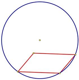 Любой параллелограмм можно вписать в окружность.