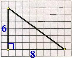 На клетчатой бумаге с размером клетки 1 х 1 изображён прямоугольный треугольник.
