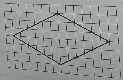 На клетчатой бумаге с размером клетки 1х1 изображён ромб. Найдите длину его большей диагонали.