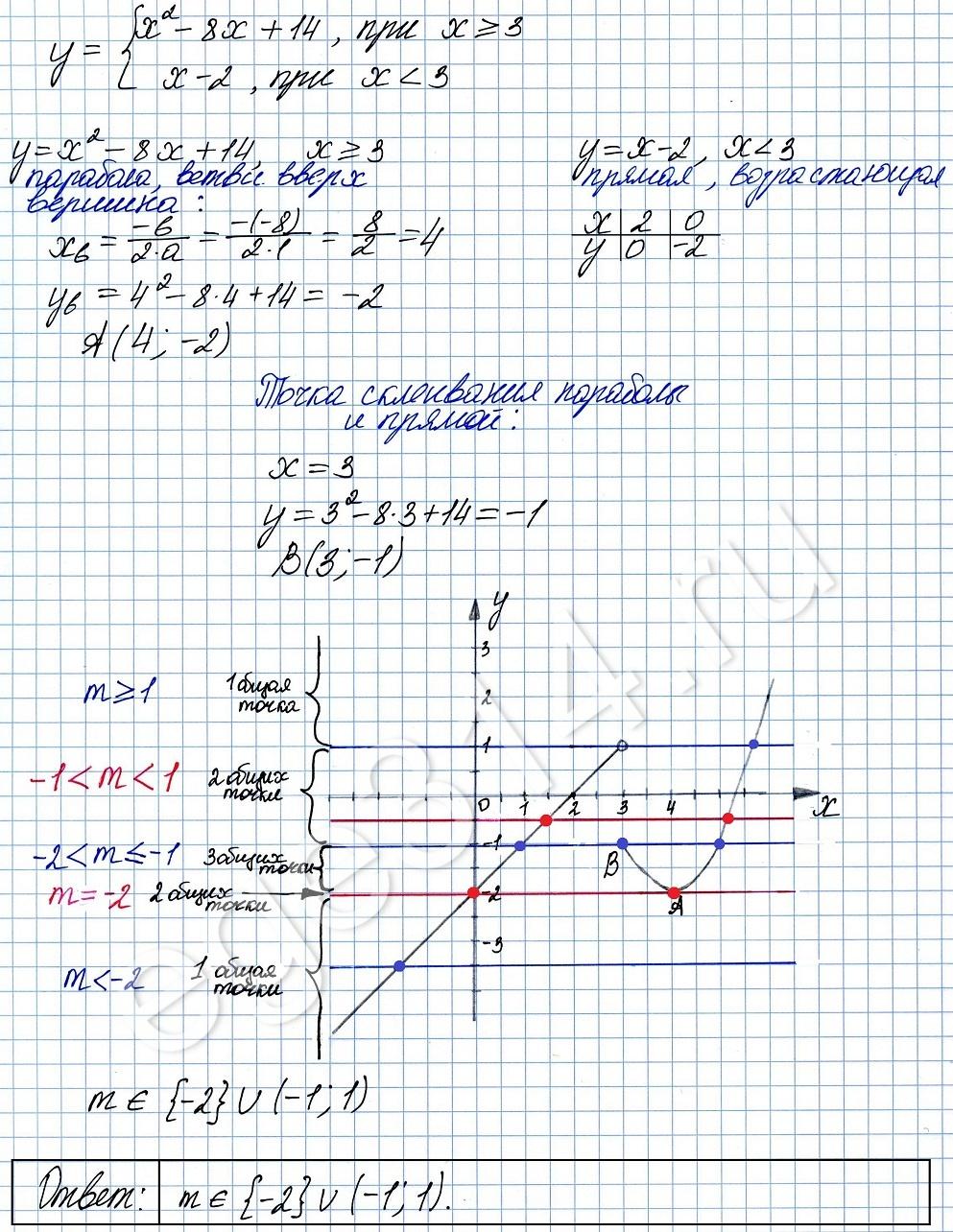 Решение №2208 Постройте график функции y = x^2-8x+14, при х>=3 y = x-2, при х<3.