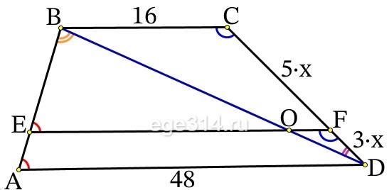 Прямая, параллельная основаниям трапеции ABCD, пересекает её боковые стороны AB и CD в точках E и F соответственно.