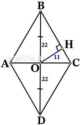 Решение №2231 Расстояние от точки пересечения диагоналей ромба до одной из его сторон равно 11, а одна из диагоналей ромба равна 44.