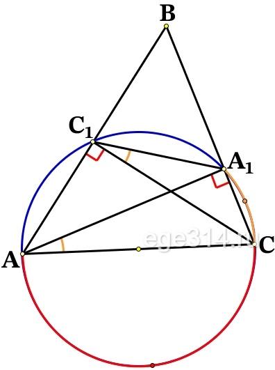 В остроугольном треугольнике ABC проведены высоты AA1 и CC1. Докажите, что углы CC1A1 и CAA1 равны.