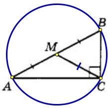 Решение №2290 В треугольнике ABC угол С равен 90°, М – середина стороны АВ, АВ = 76, ВС = 46.